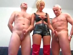 amateur blonde german milking 2 old cocks at the same time!