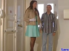 Mature in stockings invites dude in for rough bang