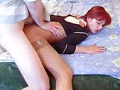 Skinny drunk redhead gets fucked by her man and his friend