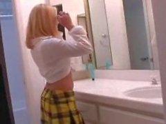 hot blonde playing masturbating