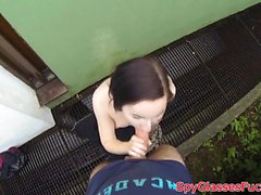 Pulled beauty sucks cock in pov