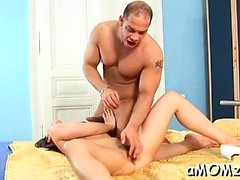 Red sexy mommy craves for big o