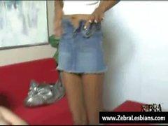 Zebra Girls - Sexy ebony lesbians fuck white babes with strap-on 02