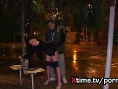 italian girl Rebecca brutally fucked on the street, deepthroating anal fuck