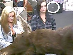 Two lesbians pawn their asses and get fucked for money