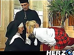 Bavarian schoolgirl and nun banged hard by priest