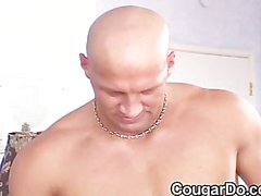Gorgeous blond cougar rides a cock