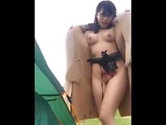 Pretty tits girl having masturbation inside the car park part 2