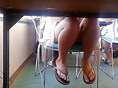 Candid College Computer Lab - April Feet & Legs 4