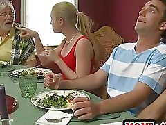 Horny stepmom has 3way with teen couple