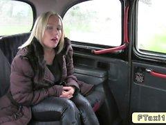 Natural blonde fucking in fake taxi