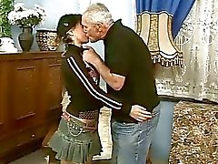 Cute teen girl fucking with old man