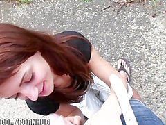 Beautiful redhead Czech girl rides big-dick in public