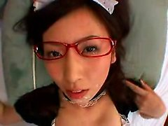 Kinky Oriental maid with glasses sucks and fucks a thick co