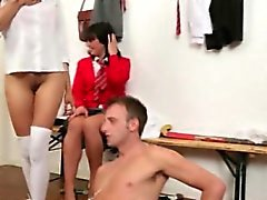CFNM voyeur take turns on his cock