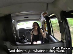 Tattooed Brit giving rimjob in fake taxi
