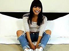 Amateur petite latina teen fucks for cash at a fake casting