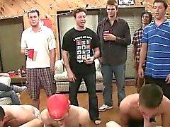 Three frat boys hazed by sucking on some hard cocks