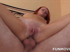 Sexy redhead enjoys hard anal sex with creampie