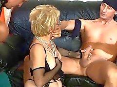 German old woman in threeones