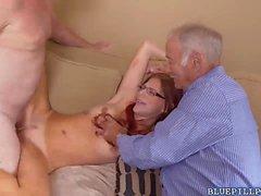 Zara Ryan rides her pussy on Dukes grumpy cock on top