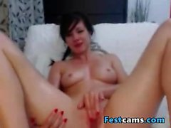 Pigtail tiny brunette fingering while oiled