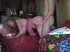 Shemale banging on blonde busty milf during sex