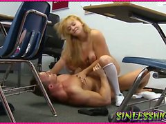 Teacher gets Rough With Blonde Student