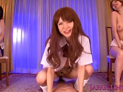 Japanese schoolgirl cowgirl action with two friends watching