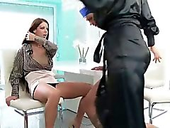 Femdom bitch fucked in threesome