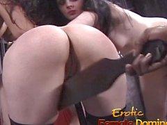 Black mistress enjoys dominating three