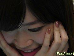 Japanese babe public pees