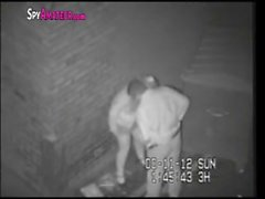 Hidden camera caught horny couple in alley