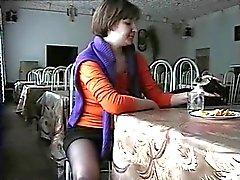 Kristal upskirt in restaurant