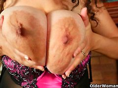 Busty milf Denise Davies rather masturbates than do cleaning