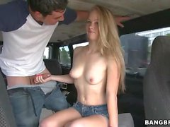Madison Chandler giving bus blowjob in the city streets