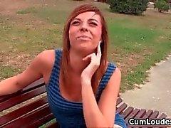 Hot brunette babe goes crazy jerking part4