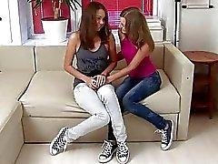 Cute teens in filthy lesbian anal sex