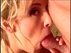 Horny married blonde gets on her knees and swallows a hard cock then fucks