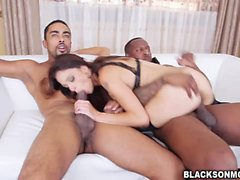 Sexy Eva Long loves fucking 2 monster cocks
