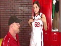 cute brunette teen getting fucked hard in the locker room