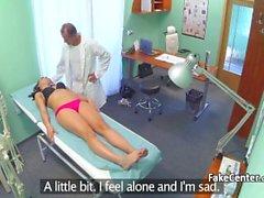 Brunette teen creampied by doctor in hospital