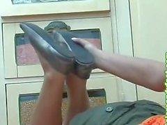 Blonde shows feet