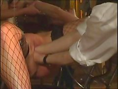 Two busty slaves for this master with the blonde going first