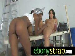 Ebony fucks lesbo with her big strapon 6
