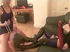 Two Hot Girls use Slave to Lick