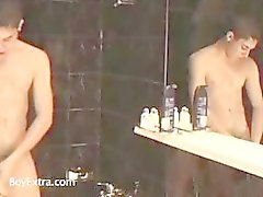 Two hot gays take a shower together and suck on some cock