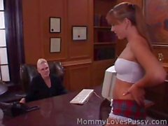 Blonde is the boss and wants her secretary in to get fucked