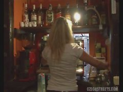 Barmaid takes hard cock in the kitchen