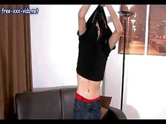 Nasty young stud amateur interviews on the casting couch then masturbates
